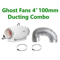"GHOST-FANS 4""/100MM SILENCED QUIET DUCTING CLAMPS COMBO VERY LOW NOISE"