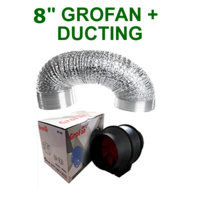 "HYDROPONICS VENTILATION COMBO - 8 INCH GROFAN + DUCTING FOR GROW TENT 8"" EXTRACT"