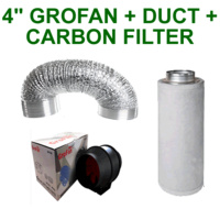 "4""/100MM COMBO - EXTRACTOR FAN + CARBON FILTER + ALUMINIUM DUCTING GROW TENT"
