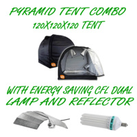 PYRAMID GROCELL 120X120X120 GROW TENT + 130W CFL ENERGY SAVING LAMP & REFLECTOR
