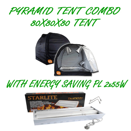 PYRAMID GROCELL 80X80X80 GROW TENT WITH PL 2X55W ENERGY SAVING GROWING LIGHT